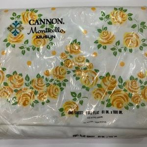 Vintage Cannon Monticello Muslin Floral Sheet